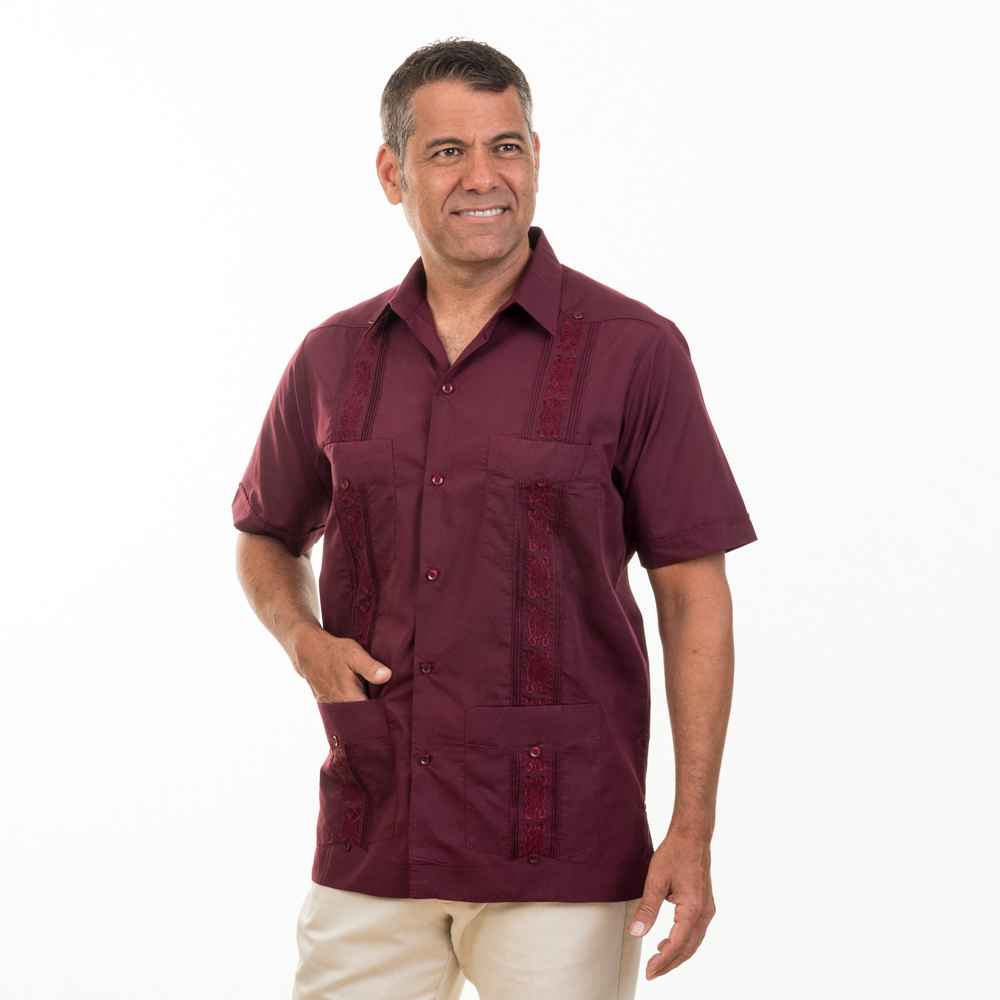 Embroidered Cotton Blend Guayabera On Sale Today Ships Free