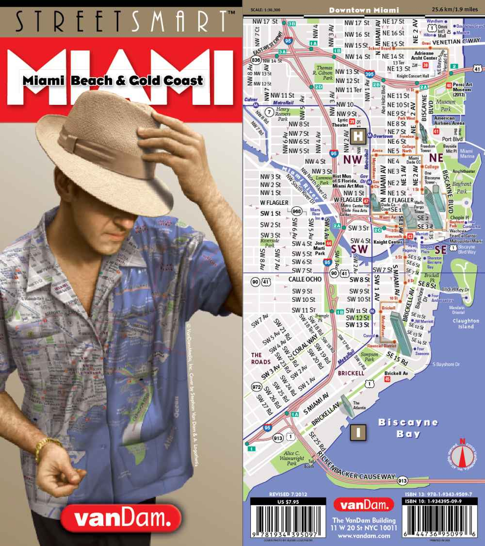 City Street Map of Miami Florida On sale today Ships free on 40