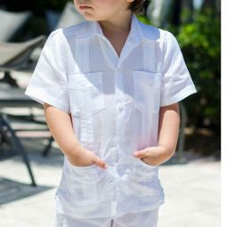 Boys Cuban Guayabera Short Sleeve