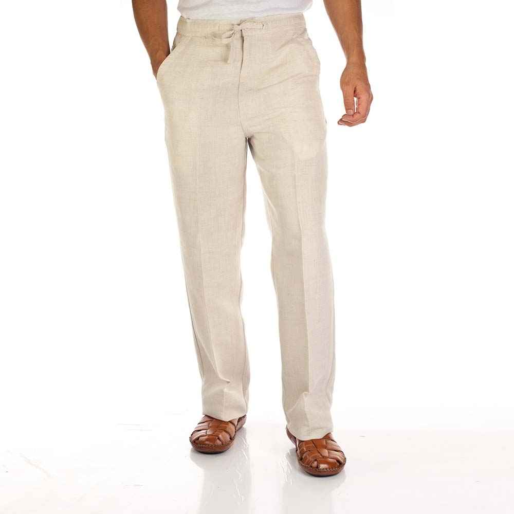 MyCubanStore | Linen blend drawstring pants for men.