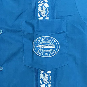 Embroidered Guayabera Corporate logo Detail