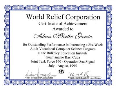 Alexis martin - World Relief Certificate Guantanamo 1994