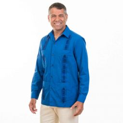 embroidery cotton blend long sleeve guayabera shirt