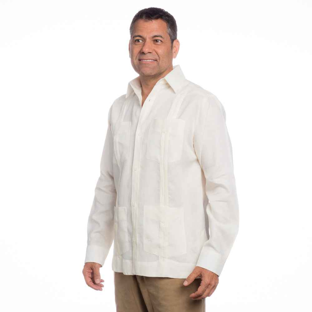 Men 39 s mexican wedding shirt linen guayabera shirt on for Mens ivory dress shirt wedding