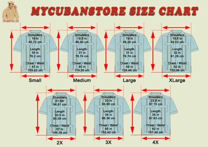 MyCubanStore Size Chart