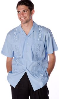 Short Sleeve Cotton Blend Embroidered Guayabera Shirt