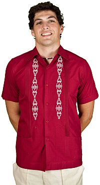 Short Sleeve Cotton Blend Guayabera Shirt